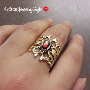 Art Nouveau Dragons Breathe Antique Gemstone Ring